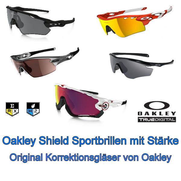oakley shield sport sonnenbrille mit st rke wechselscheibe. Black Bedroom Furniture Sets. Home Design Ideas